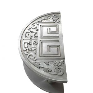 Satin Half Moon Front Door Handles Modern 300x150mm | Royce Series