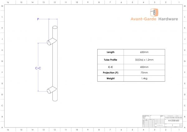 MATT BLACK SATIN Entrance Front Door Handle Pair 600mm Decorative | Axton Series