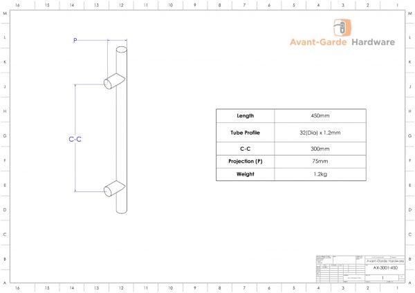 MATTE BLACK SATIN Entrance Door Pull Handles - 45 cm Long | Axton Series