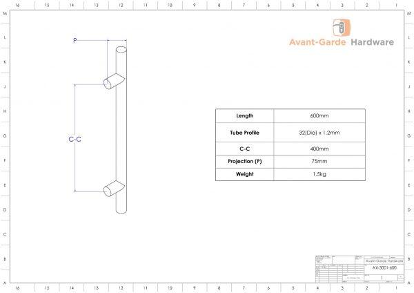 60cm SATIN Entrance Door Pull Handles (Pair) | Axton Series