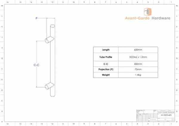 SATIN BRUSH 60 cm Pull Door Handle Pair | Axton Series