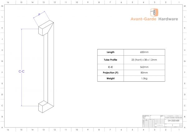 60cm CHROME POLISHED Entrance Door Handles | Dalton Series