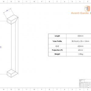 450mm MATTE BLACK SATIN Entrance Handles | Dalton Series