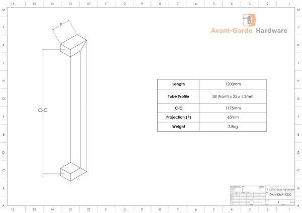 ANTIQUE COPPER 1.2m Pull Handle Pair For Front Door | Dalton Series