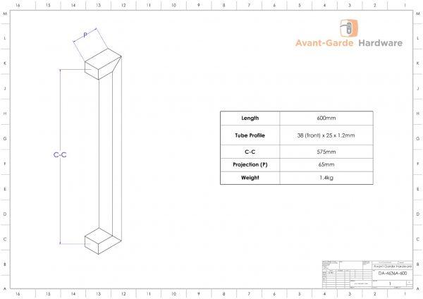 ANTIQUE COPPER Entrance Pull Handle Pair 600mm | Dalton Series