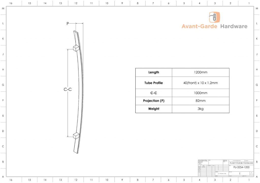 1200mm SATIN MATT BLACK Entrance Handles | Fulton Series
