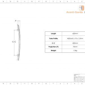 60cm MATT BLACK SATIN Entrance Door Handles | Fulton Series