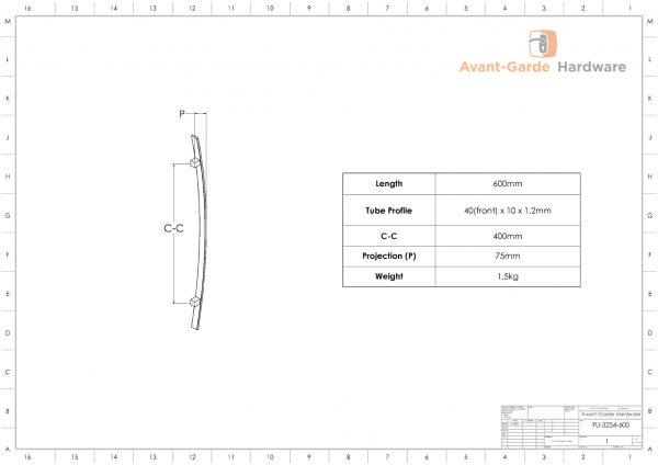 60cm MATT BLACK SATIN Entrance Door Handles   Fulton Series