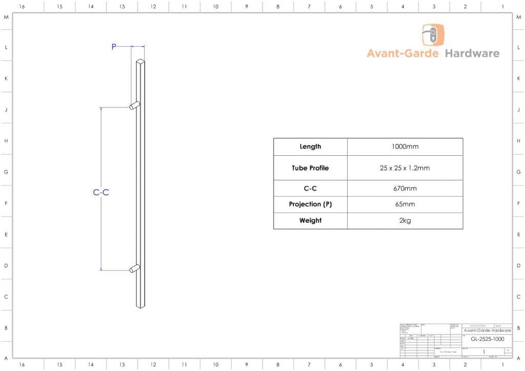 1000mm SATIN MATT BLACK Pull Handles | Gladstone Series