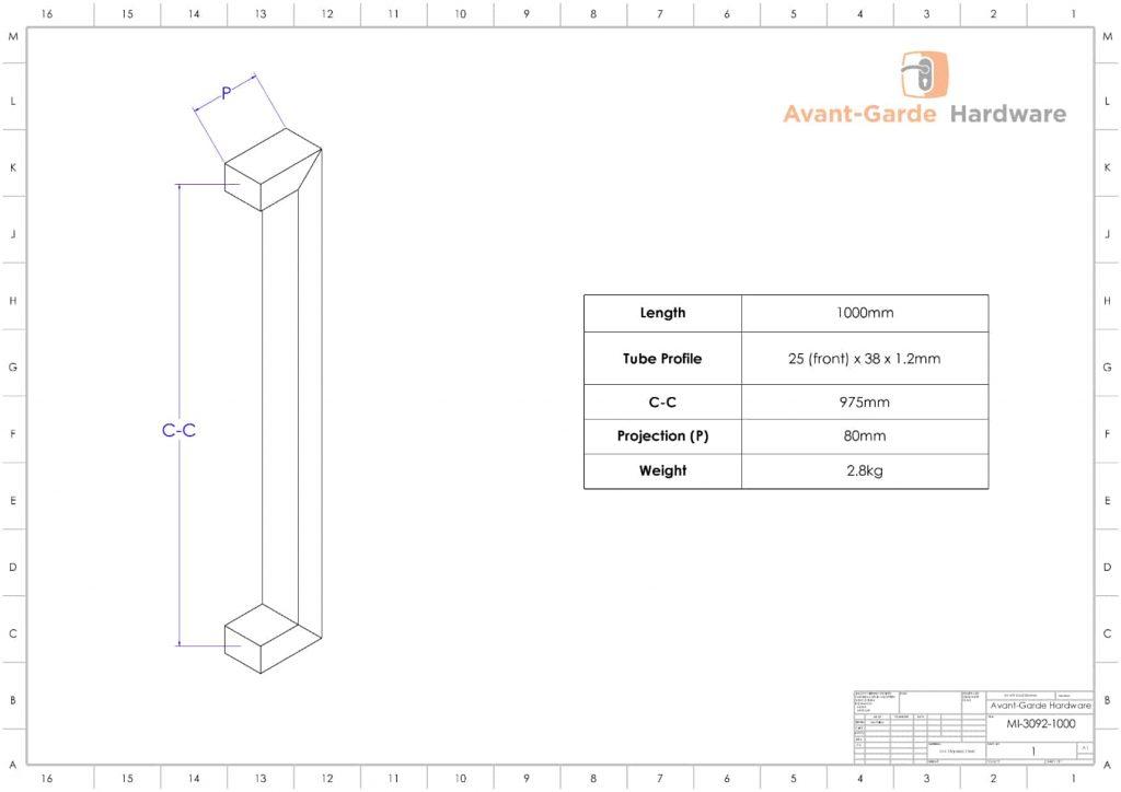 100 cm SATIN MATT BLACK Push Pull Handles | Milton Series