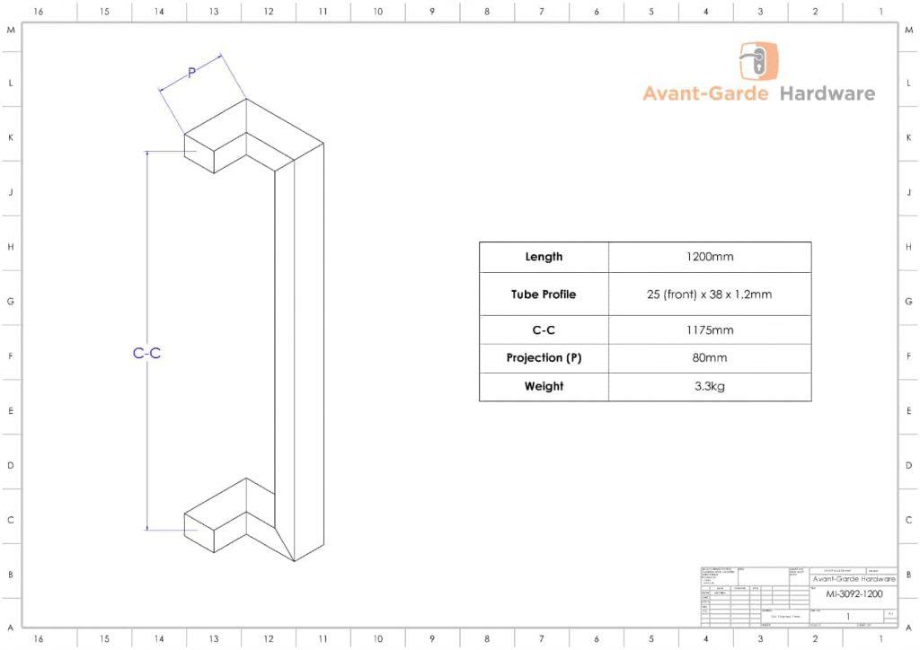 120 cm MATTE BLACK SATIN Pull Handles | Milton Series