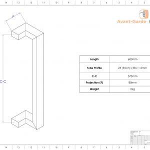 60 cm POLISHED CHROME Entrance Door Pull Handles | Milton Series