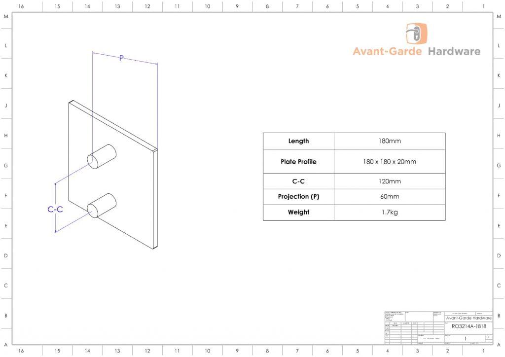 ACRYLIC Entrance Door Pull Handles 180x180 mm   Royce Series