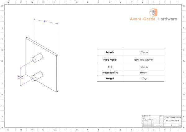 ACRYLIC Entrance Door Pull Handles 180x180 mm | Royce Series